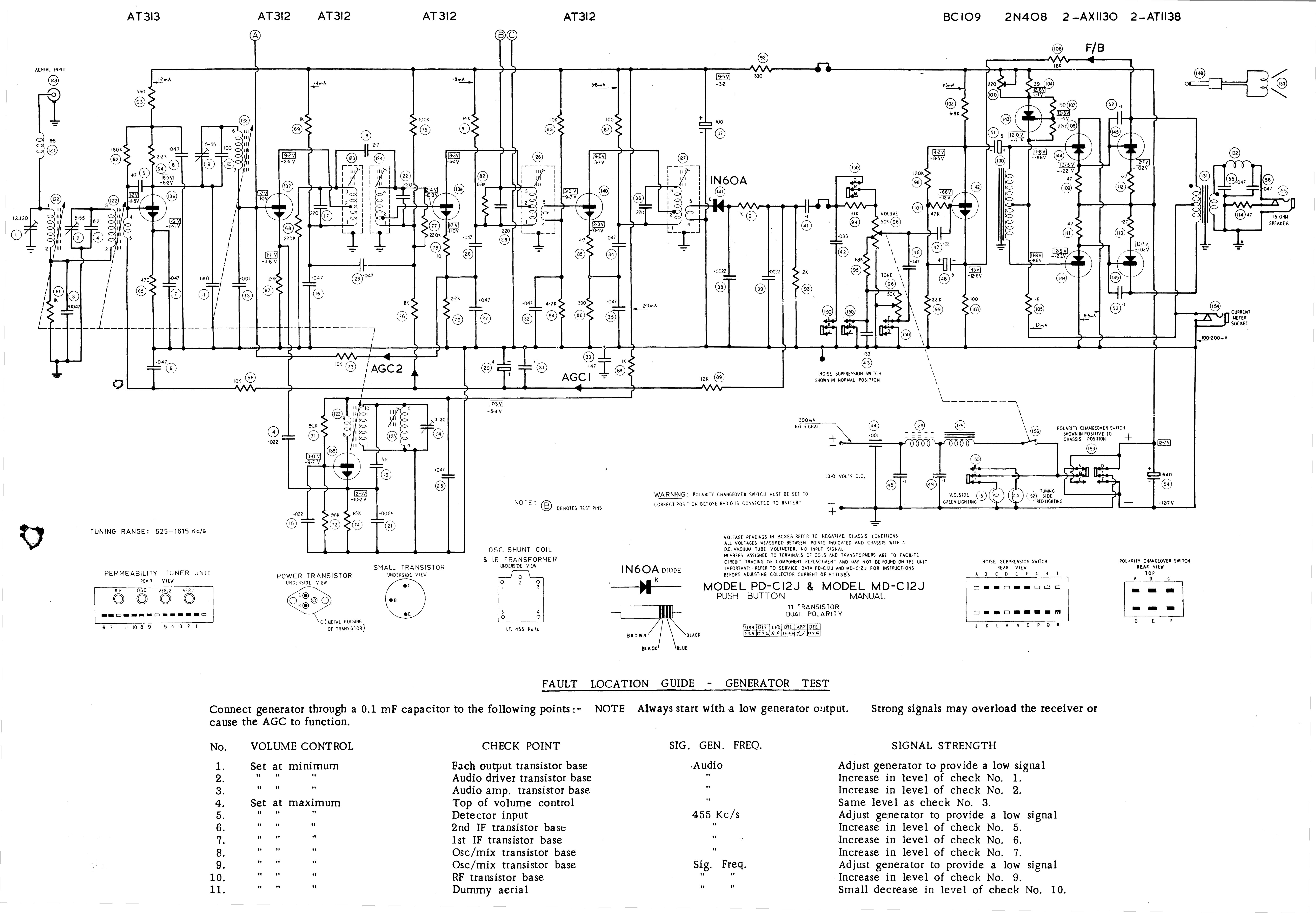 Schematic Centre Circuit Diagram Year 2 1967 Gm Air Chief Pd C12j Md Car Radio Board